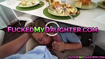 Blonde teen Bailey Brooke bangs with a neighbor