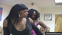 Black chicks in lingerie share white cock in threesome
