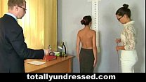 Tough nude job interview for secretary babe