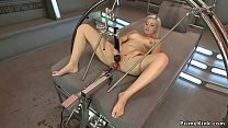 Solo blonde babe is machine fucked