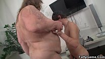 Big belly bbw sucks and rides his young cock