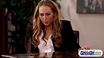 Image: Carter Cruise licked by boss Chanell Heart during interview