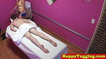 Real jap masseuse tugging customers dick preview image