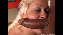 Busty blonde BBW beauty loves to suck cock and eat cum