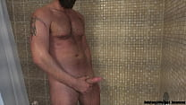 Solo Video of Justin Sane Peeing and Jerking off in the Shower