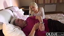 12607 Old guy penetrates her young pussy and the girl gets cum in her mouth preview