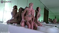 Tattooed Girl Sloppy Blowjob Cock Lover and Passionate Sex in the Bathroom صورة