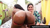 Cuban Angelina Castro Oils Up & StrapOn Fucks Ebony Maserati