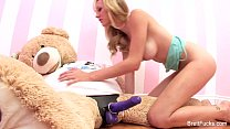 girl riding stuffed bear + dildo + video