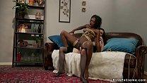 Tied up ebony anal banged by mistress