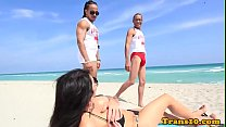 Bigtitted bikini tgirl spitroasted in trio