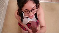 Schoolgirl delivers cookies to neighbour but ends up fucking him and tasting his cum POV Indian