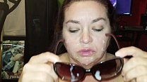 Sexy BBW sucks in sunglasses and gets cum covered