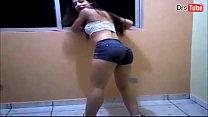 young brunette dancing