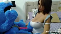 Pregnant ebony plays fucking Cookie Monster - Adul...
