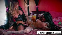 Great lesbian action with toys and two pairs of...
