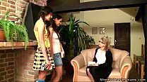 Old teacher shows her teen students how to kiss and pet girls