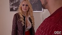 Busty blonde Angel Wicky takes a big boner deepthroat and a cock in her ass