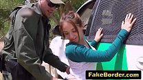 A horny border agent fucks hot young Latina's throat and tight pussy preview image