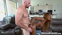 Gorgeous young ebony Evi Rei slammed by big white dick