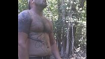 Outdoor shirtless cumshot, huge dick