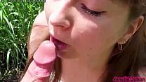 Cute Girl Public Blowjob Big Dick Stranger Outside - Cum in Mouth صورة