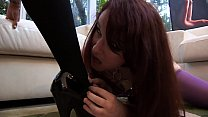 Stunning babe Dana Vespoli sits on her girlfriend's pretty face in the living room thumbnail