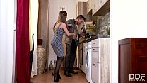 Horny Young Wife in Stockings bangs Husband in Kitchen