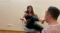 Chic Mistress Sofi In Leather Pants and High Heels - Heels Sucking and Foot Gagging Femdom (Preview)