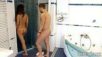 teen Angie Moon bathroom anal