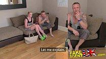 FakeAgentUK Agents cock makes boyfriend jealous in threesome casting Preview