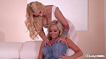 Big black double dong action with busty lesbian...