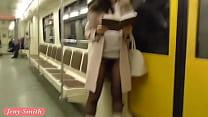 Jeny Smith seamless pantyhose subway pussy flash