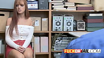 Doggystyle With Redhead Teen Thief On Desk