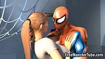 3D blonde babe gets her pussy licked by Spiderman