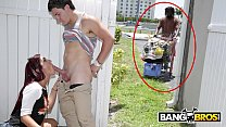 BANGBROS - Sophia Steele Gives Peter Green A Public Blowjob While Bum Walks On By thumbnail
