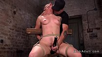 Hogtied babe toyed in different bondages