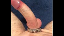 Cock ring wanking with cum