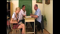 Schoolgirl screwed by teacher and classmate