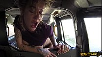 Sexy blonde lady in hot deepthroat and anal in the taxi