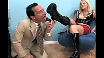 Image: Blonde gives a footjob and foot worship in boots