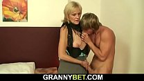 Young dude picks up 70 years old blonde prostitute