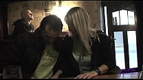 She gives a blowjob in the pub and then they go to fuck on the street in the city