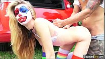 Teen Mikayla the clown shows stranger her pierced nipples
