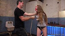 Tied babe gets gangbang slave training