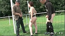 French mom anal fucked in threesome outdoor