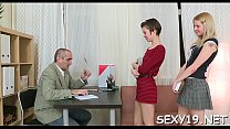 Adorable beauty is delighting old tutor's hard male dick