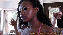 Ebony teen mouth spermed
