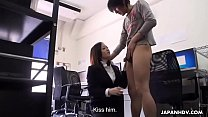 Japanese babe blows a dick and gets cum in mouth