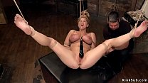 Hogtied blonde in horizontal suspension